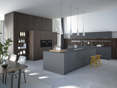 Photo pour Modern, bright, clean, kitchen interior with stainless steel appliances in a luxury house. - image libre de droit