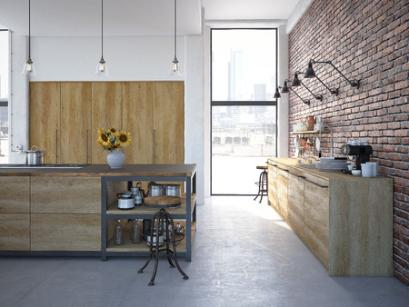 Foto de 3d rendering of Modern Design Kitchen Interior - Imagen libre de derechos