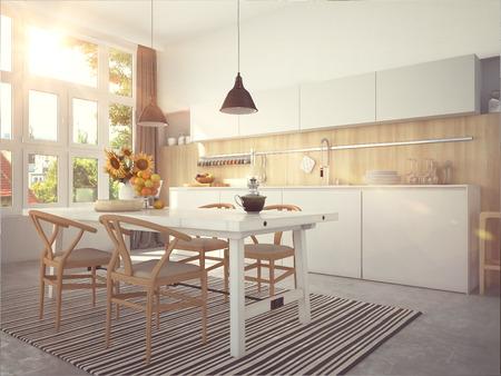 Photo pour Kitchen and living room of loft apartment - image libre de droit