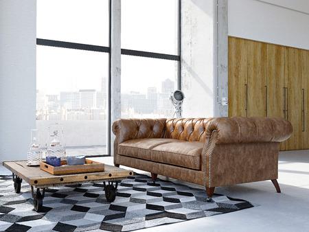 Foto de 3d rendering. loft apartment in the city with vintage sofa. - Imagen libre de derechos