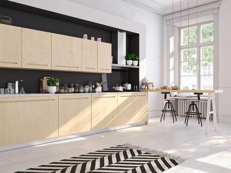 Foto de 3D rendering of modern kitchen in a loft. - Imagen libre de derechos