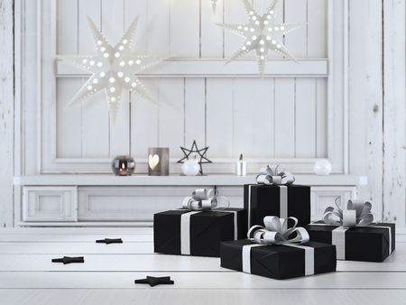 Photo for 3d rendering. beautiful gift with Christmas ornaments - Royalty Free Image