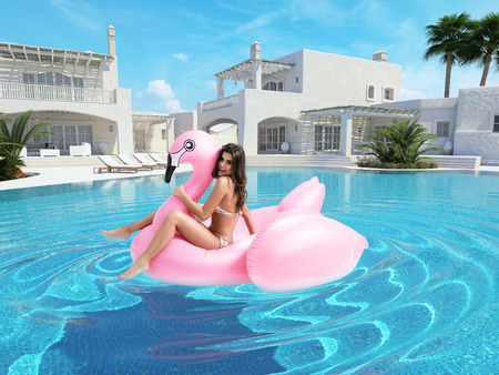 Photo pour beautiful girl having fun with pink flamingo float. 3d rendering - image libre de droit