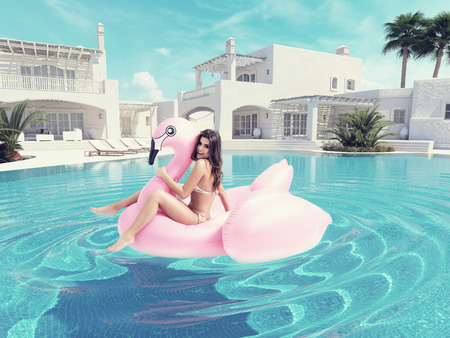 Photo pour beautiful girl having fun with pink flamingo float. 3d rendering - image libre de droit