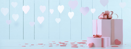 Photo for pink present with hearts - Royalty Free Image