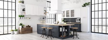 Photo pour 3D rendering of modern kitchen in a loft. wide view - image libre de droit