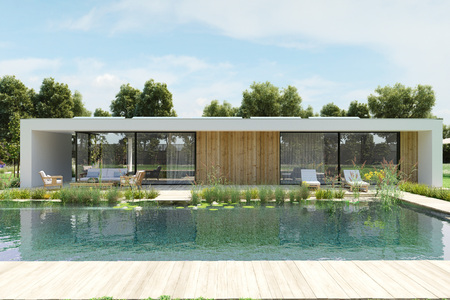 Photo pour modern house with environmental pool. 3d rendering - image libre de droit