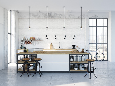Photo pour modern nordic kitchen in loft apartment. 3D rendering - image libre de droit