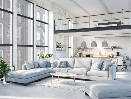 Foto per modern loft apartment. 3d rendering - Immagine Royalty Free