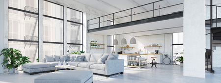 Photo for modern loft apartment. 3D rendering - Royalty Free Image