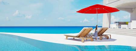 Foto de Villa with swimming pool. summer concept. 3d rendering - Imagen libre de derechos