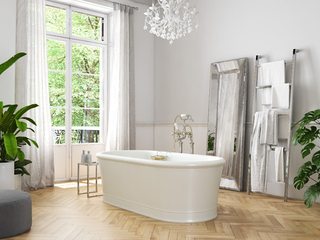 Photo pour Classic luxury bathroom. 3d rendering - image libre de droit
