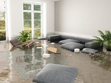 Foto de 3d rendering. flood in brand new apartment. - Imagen libre de derechos
