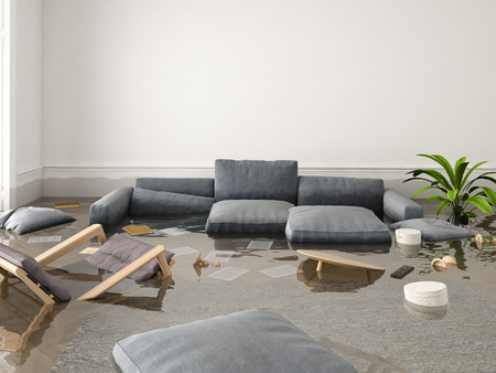 Foto de 3d rendering. flood in brand new apartment. - Imagen libre de derechos