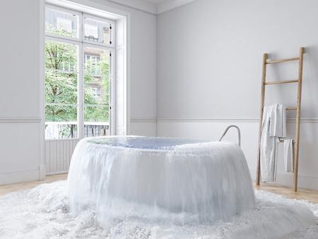 Photo pour flood in brand new apartment. 3d rendering - image libre de droit