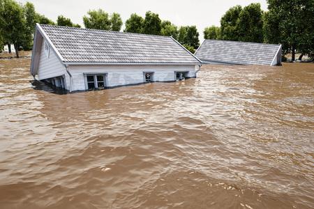 Foto de 3d rendering. flooding houses - Imagen libre de derechos
