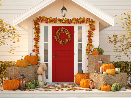 Foto de autumn decorated house with pumpkins and hay. 3d rendering - Imagen libre de derechos