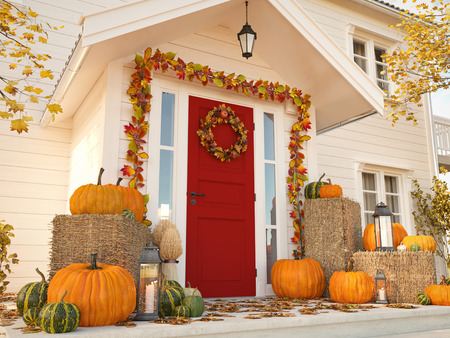Foto per autumn decorated house with pumpkins and hay. 3d rendering - Immagine Royalty Free