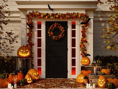 Photo pour halloween decorated house with pumpkins. 3d rendering - image libre de droit