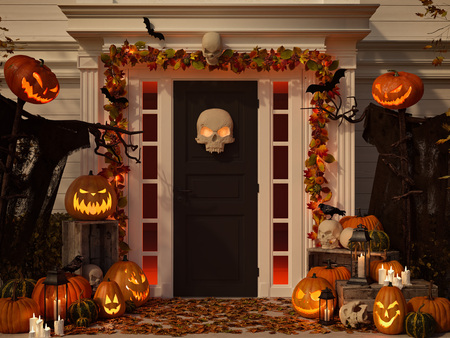 Photo for halloween decorated house with pumpkins and skulls. 3d rendering - Royalty Free Image