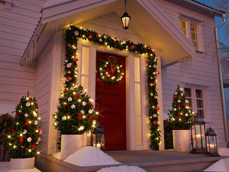 Foto de christmas decorated porch with little trees and lanterns. 3d rendering - Imagen libre de derechos