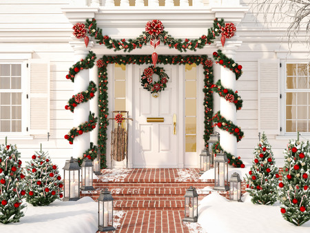 Photo for christmas decorated porch with little trees and lanterns. 3d rendering - Royalty Free Image