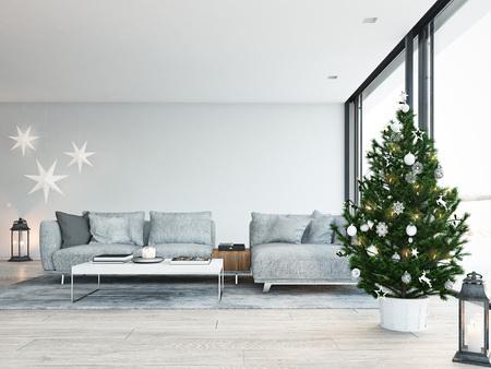Foto de 3d rendering. home with christmastree in modern apartment. christmas decoration. - Imagen libre de derechos
