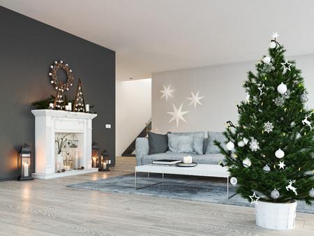 Foto de 3d rendering. home with fireplace in modern apartment. christmas decoration. - Imagen libre de derechos