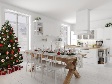 Photo for nordic kitchen with christmas decoration by day. 3d rendering - Royalty Free Image