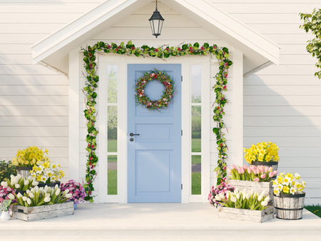 Photo pour spring decorated porch with a lot of flowers. 3d rendering - image libre de droit