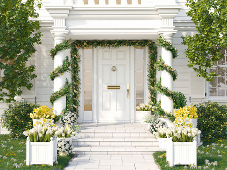 Photo for spring decorated porch with a lot of flowers. 3d rendering - Royalty Free Image