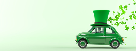 Photo for st. patricks day car driving with flying shamrocks. 3d rendering - Royalty Free Image