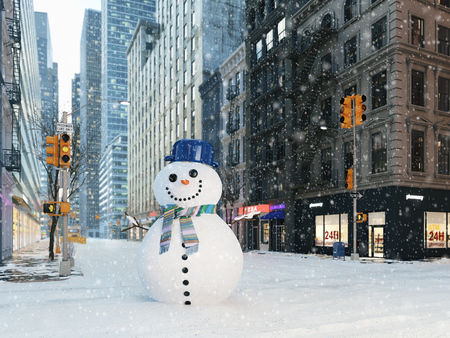Foto de blizzard in new york city. build snowman. 3d rendering - Imagen libre de derechos
