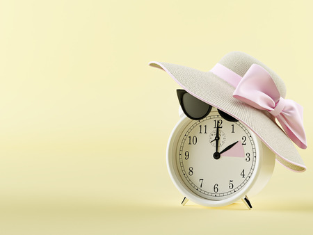 Foto de clock changing from winter to summer time. summertime concept. 3d rendering - Imagen libre de derechos
