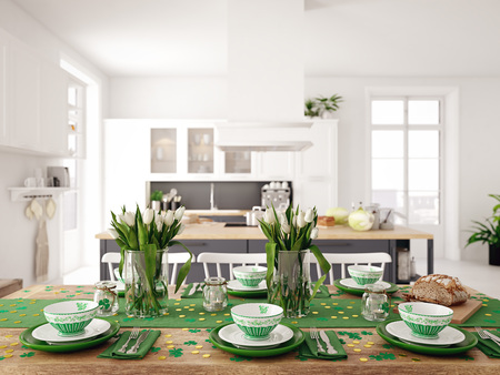 Foto de Table setting for St Patricks Day. holiday concept. 3d rendering - Imagen libre de derechos