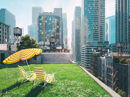 Photo pour garden in a big city. living concept. 3d rendering - image libre de droit