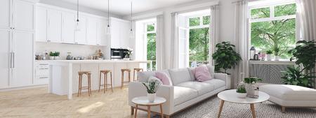 Foto de modern living room in townhouse. 3d rendering - Imagen libre de derechos