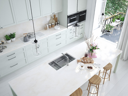 Foto de top view modern nordic kitchen in loft apartment. 3D rendering - Imagen libre de derechos