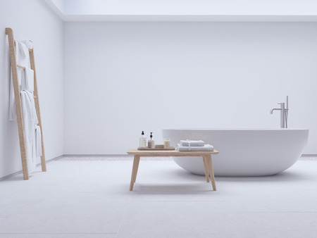 Foto de new modern zen bathroom with white wall. 3d rendering - Imagen libre de derechos