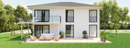 Foto de modern new house with large property. 3D rendering - Imagen libre de derechos