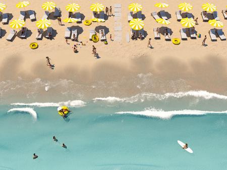 Foto de aerial top view on the beach with lots of beach umbrella. 3D rendering - Imagen libre de derechos
