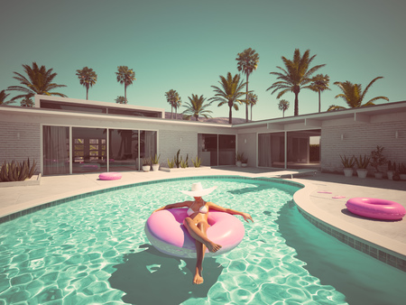 Photo for Woman swimming on float in a pool. 3d rendering - Royalty Free Image