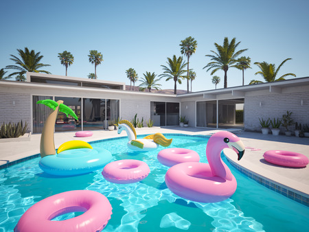 Photo for 3D rendering. a lot of different floats in a pool - Royalty Free Image