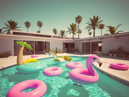 Photo pour 3D rendering. a lot of different floats in a pool. retro style - image libre de droit