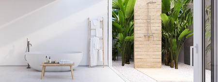 Photo pour New modern zen bathroom with tropic plants. 3d rendering - image libre de droit