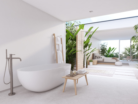Foto de new modern zen bathroom with tropic plants. 3d rendering - Imagen libre de derechos