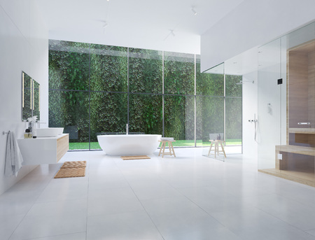Foto de 3D new modern zen bathroom with tropic plants. 3d rendering - Imagen libre de derechos
