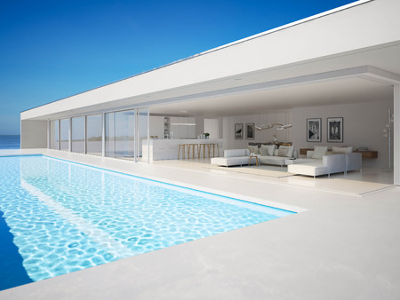 Foto de 3D-Illustration. modern luxury summer villa with infinity pool - Imagen libre de derechos