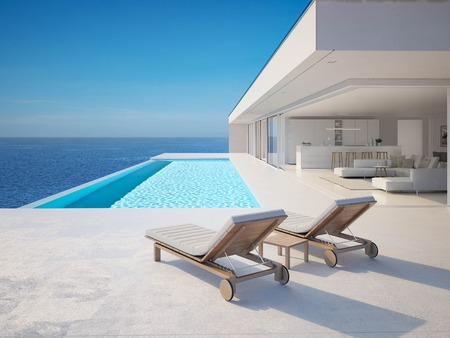 Photo pour 3D-Illustration. modern luxury summer villa with infinity pool - image libre de droit
