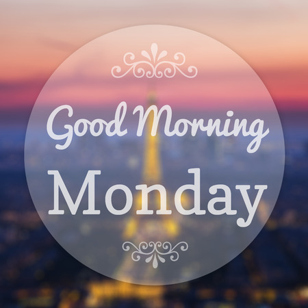Foto de Good Morning Monday on Eiffle Paris blur background - Imagen libre de derechos